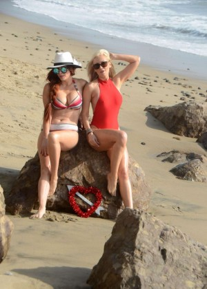 Phoebe Price and Ana Braga at a Beach in Malibu