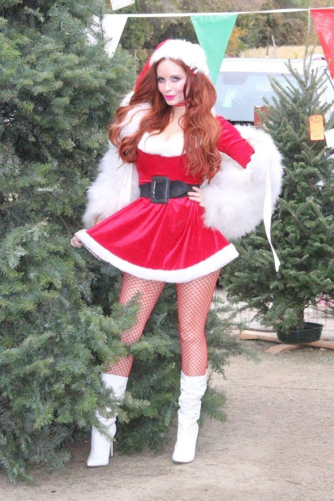 Phoebe Price – Dresses up like Santa at a Christmas Tree Farm in LA