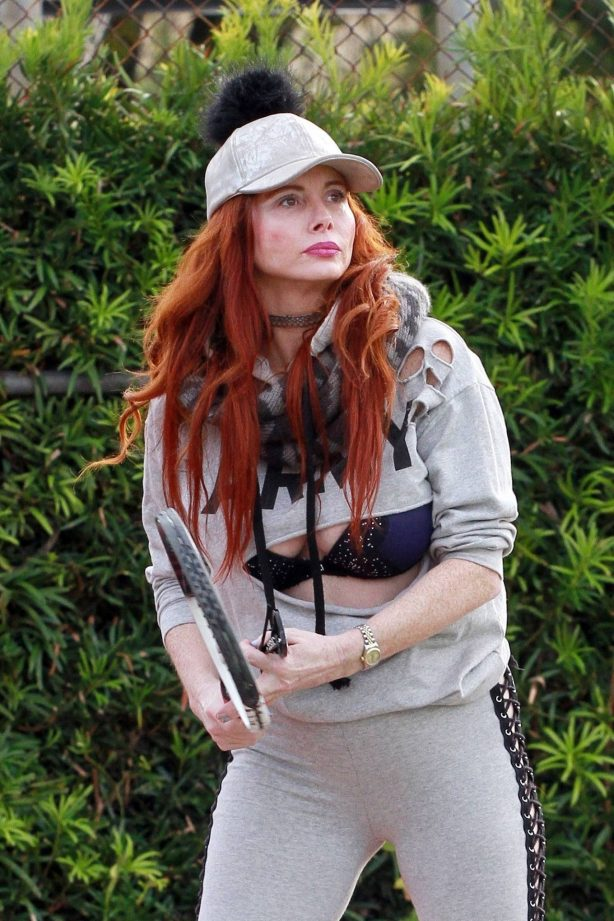 Phoebe Price - In a cut-up Army sweatshirt at the tennis court in Los Angeles
