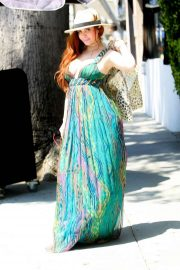 Phoebe Price in a Green Maxi Dress - Shopping at Grand Park in LA