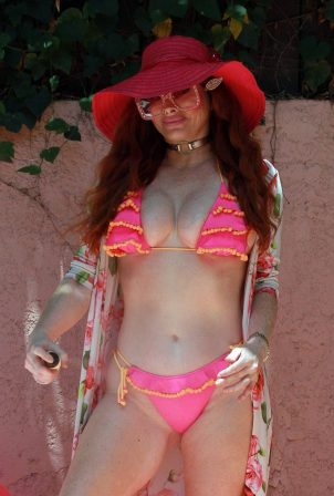 Phoebe Price in Bikini on the pool in LA