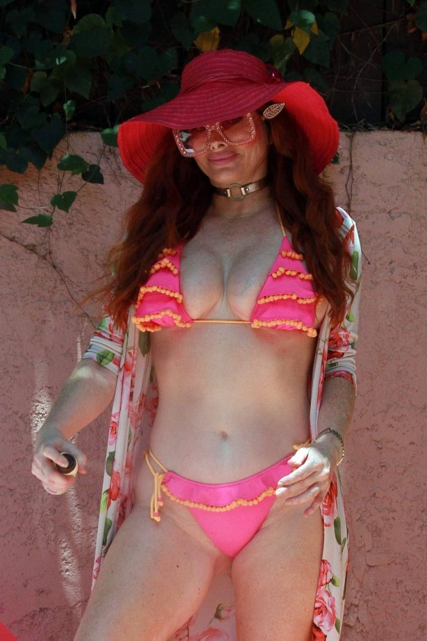 Phoebe Price in Bikini on the pool in LA