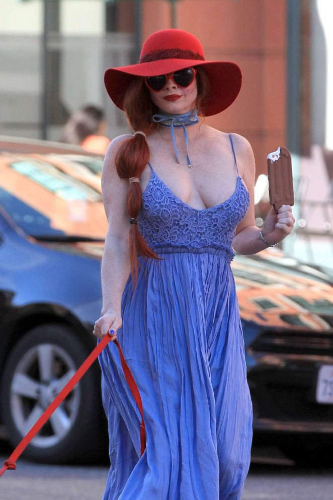 Phoebe Price in Blue Dress walking her dog in Beverly Hills
