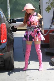 Phoebe Price in Floral Mini Dress - Pumping gas in Hollywood