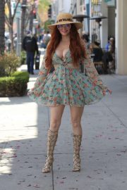 Phoebe Price in Mini Dress - Shopping in Beverly Hills