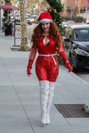 Phoebe Price in Red Suit - Shopping in Beverly Hills