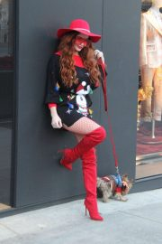 Phoebe Price in Short Dress and Red High Boots - Out in Los Angeles