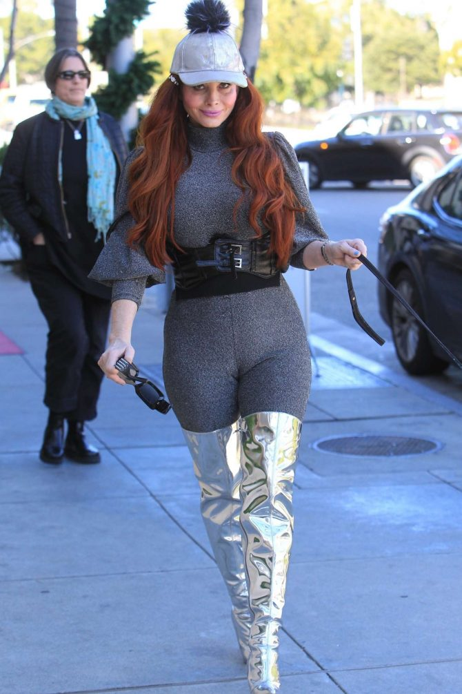 Phoebe Price in Silver Knee-High Boots - Out in Beverly Hills