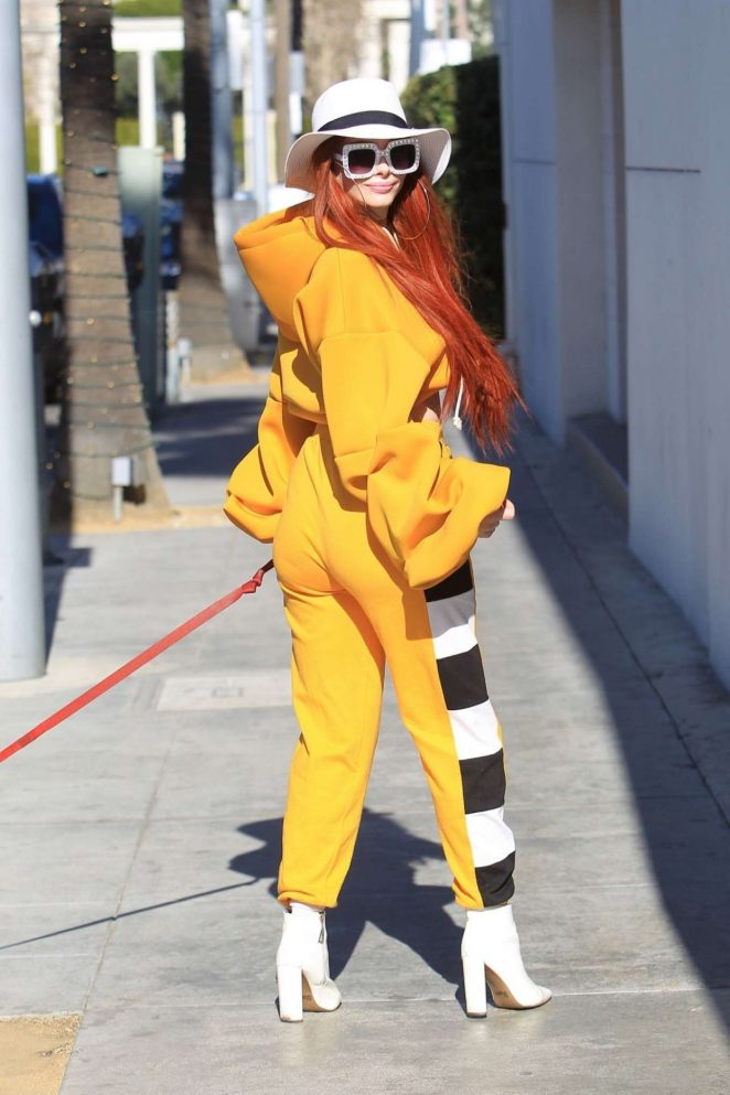 Phoebe Price in Yellow Ensemble - Shopping in Los Angeles