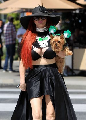 Phoebe Price out walking her dog in Beverly Hills