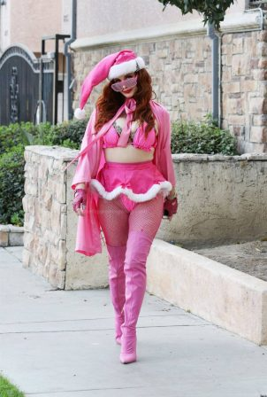 Phoebe Price - Photo shoot in a pink Christmas outfit in Los Angeles