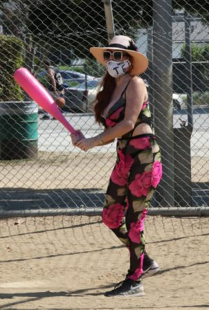 Phoebe Price - Playing baseball with a giant pink bat in Los Angeles