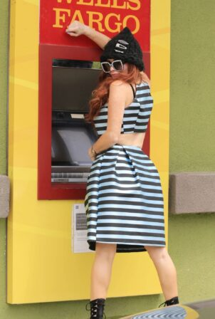 Phoebe Price - Posing at a Wells Fargo ATM in Los Angeles