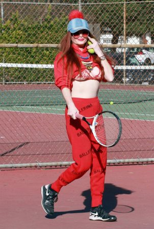 Phoebe Price - Posing at the tennis courts on Tuesday in Los Angeles
