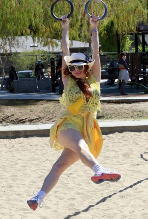 Phoebe Price - Posing in yellow dress at the park in Los Angeles