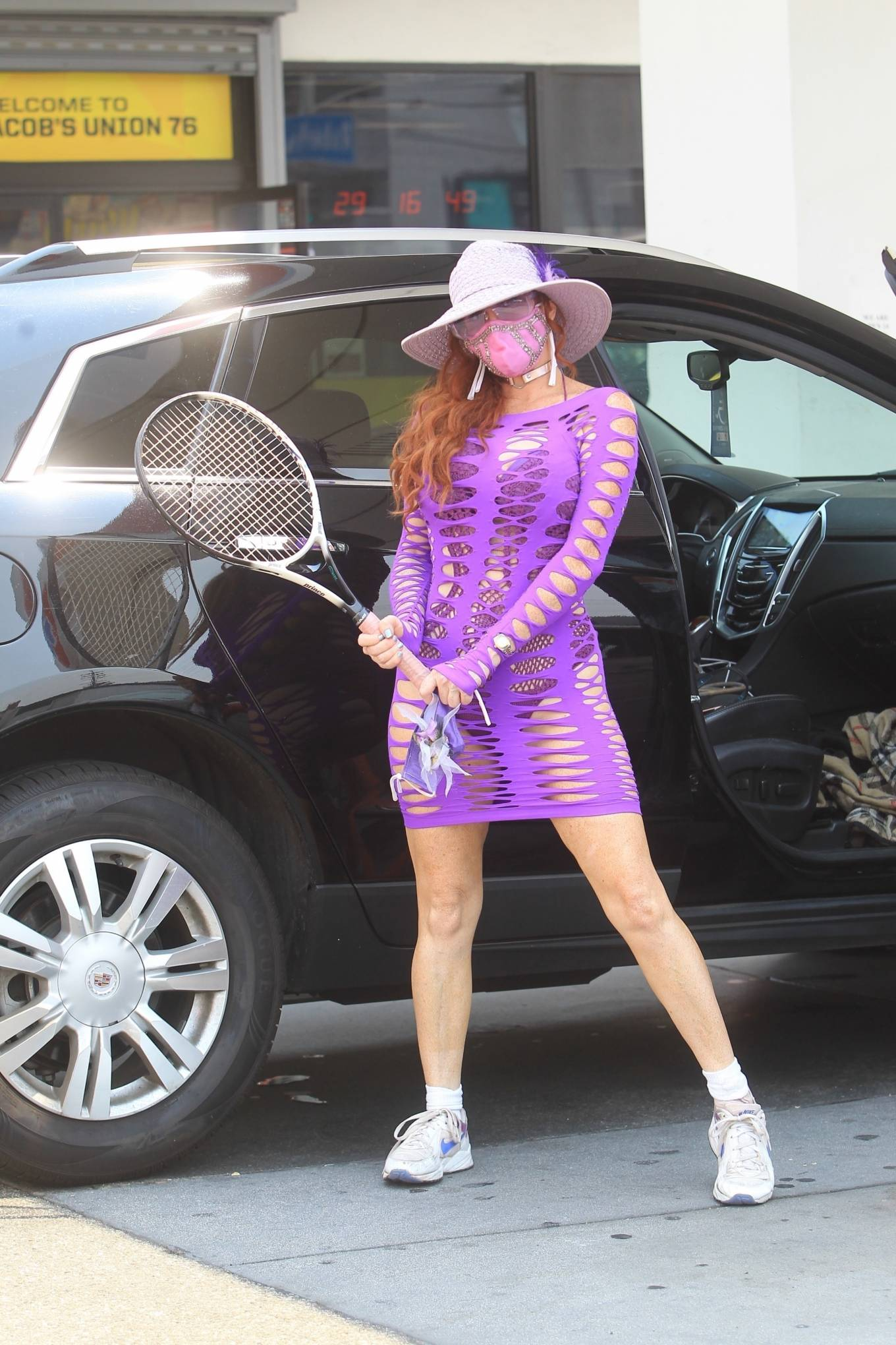 Phoebe Price - Possing at a gas station in Hollywood