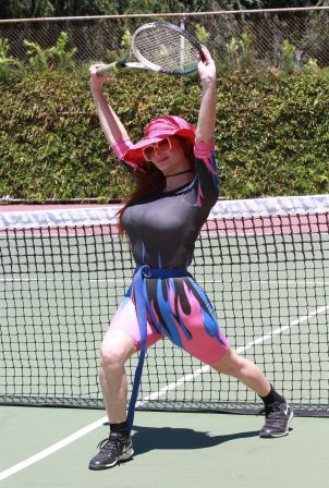 Phoebe Price - Possing in a fire work out outfit on the tennis courts in Los Angeles