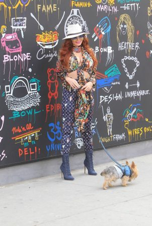 Phoebe Price - Possing in colorful Louis Vuitton ensemble in Los Angeles