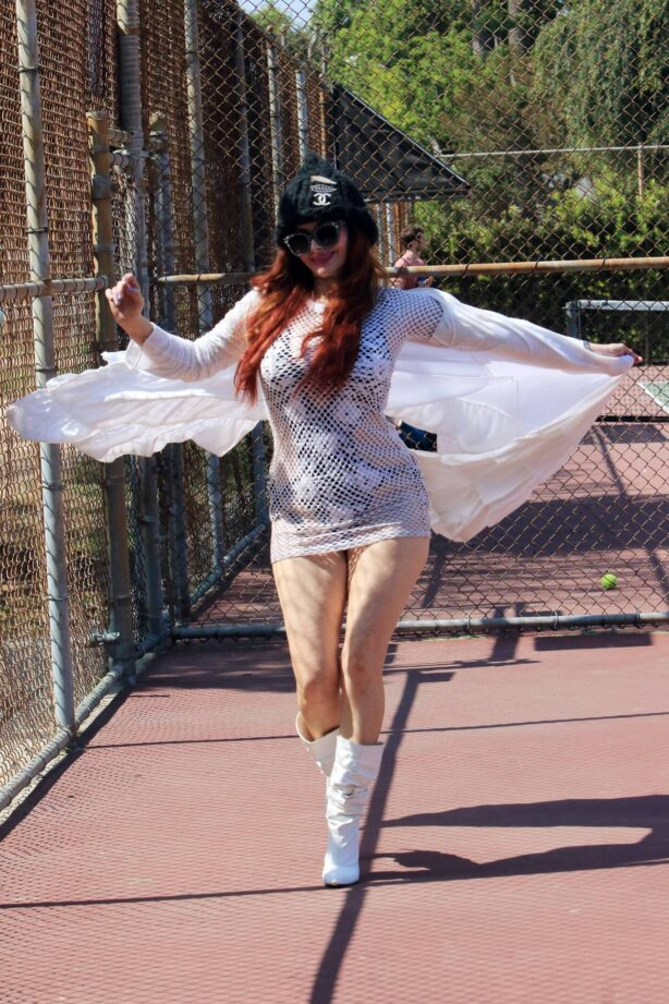 Phoebe Price - seen at the tennis courts in Los Angeles