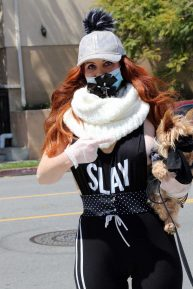 Phoebe Price - Shows off a new mask as she walks her dog in Los Angeles