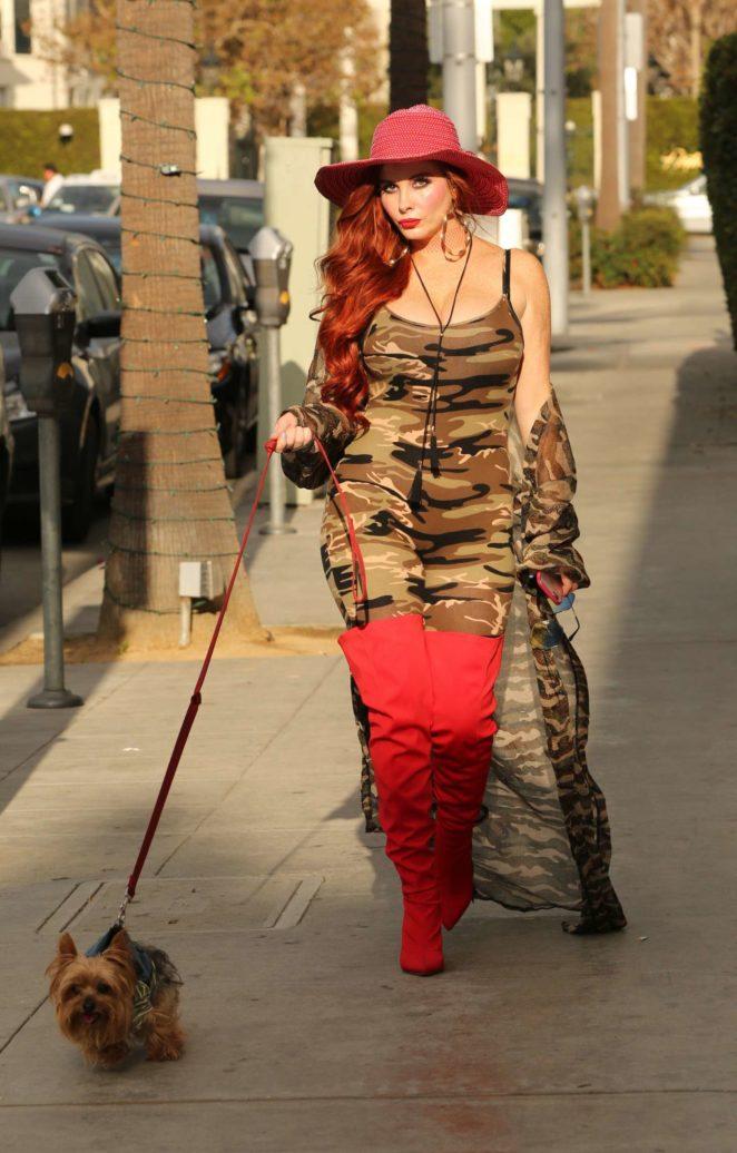 Phoebe Price walking her dog in Los Angeles