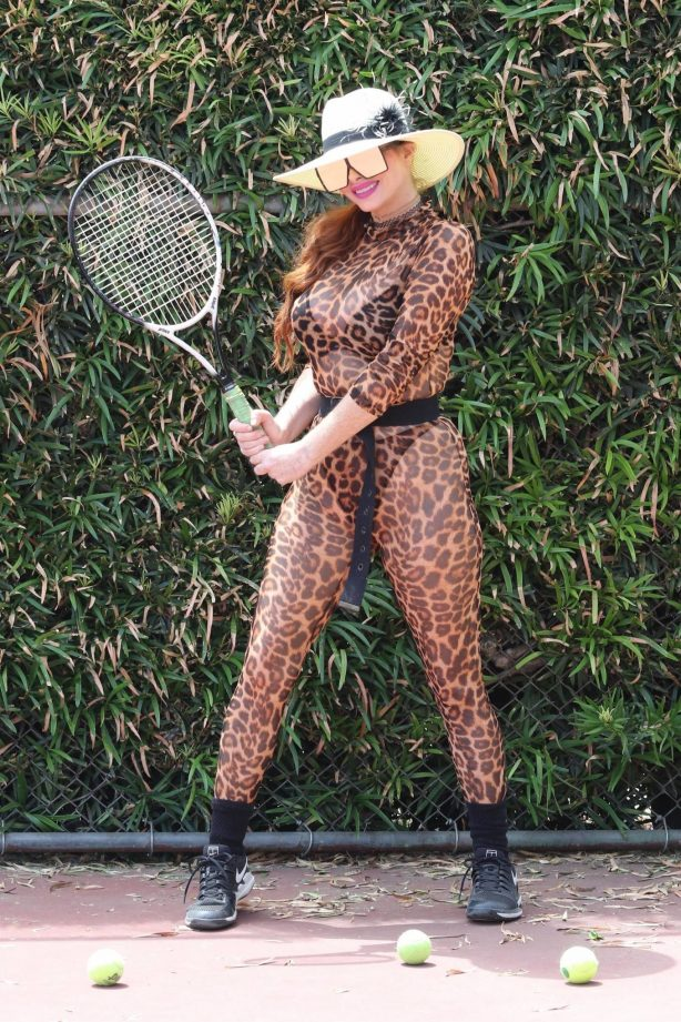 Phoebe Price - Wear animal print outfit at the tennis court in Los Angeles