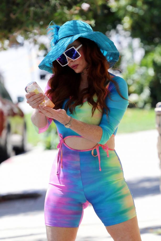 Phoebe Price - Wearing a colorful tie dye outfit in LA