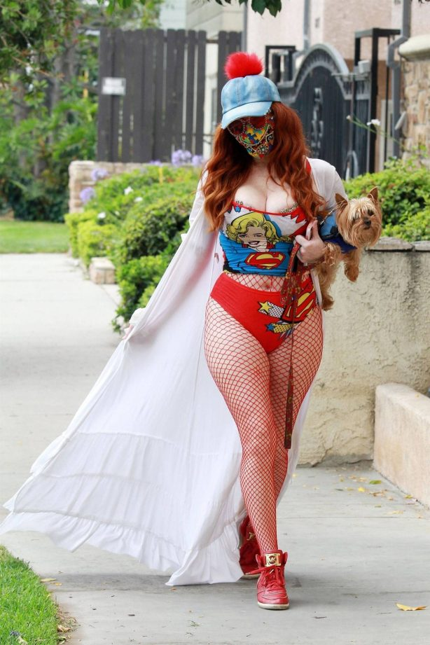 Phoebe Price - Wearing a Super Girl shirt in Los Angeles