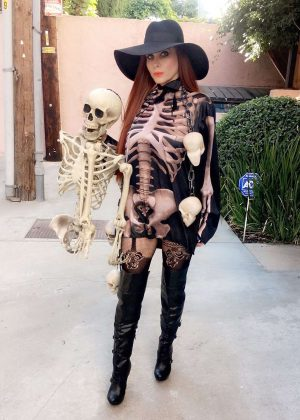 Phoebe Price wearing an outfit in preparation for Halloween in LA