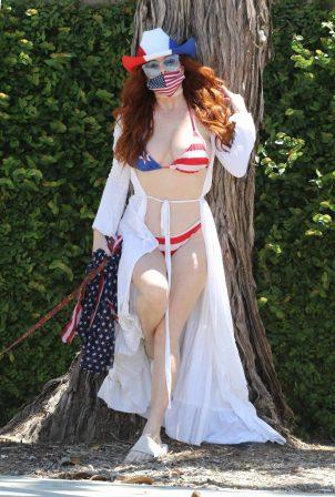 Phoebe Price - Wears a patriotic bikini on Memorial Day in LA