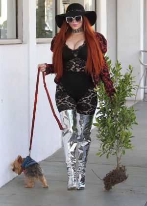 Phoebe Price with her dog in Beverly Hills