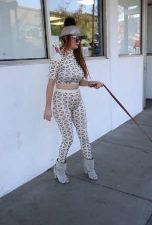 Phoebe Price - With her dog out in Beverly Hills