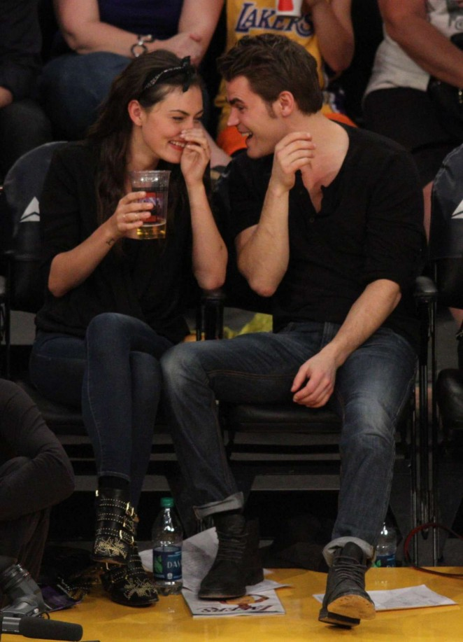 Phoebe Tonkin and Paul Wesley at La Lakers Game in LA
