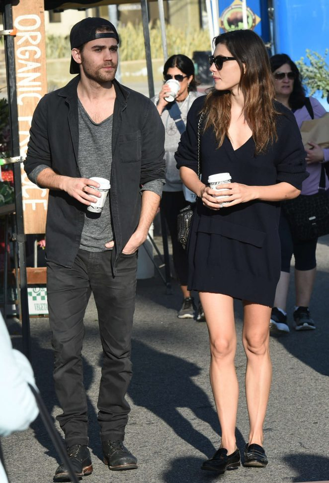 Phoebe Tonkin and Paul Wesley at the Farmers Market in Los Angeles