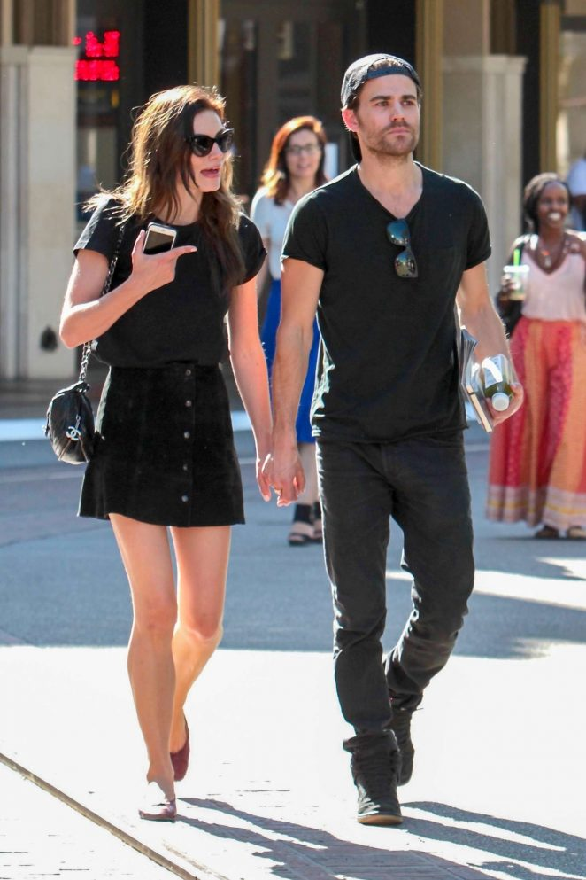 Phoebe Tonkin and Paul Wesley at The Grove in West Hollywood