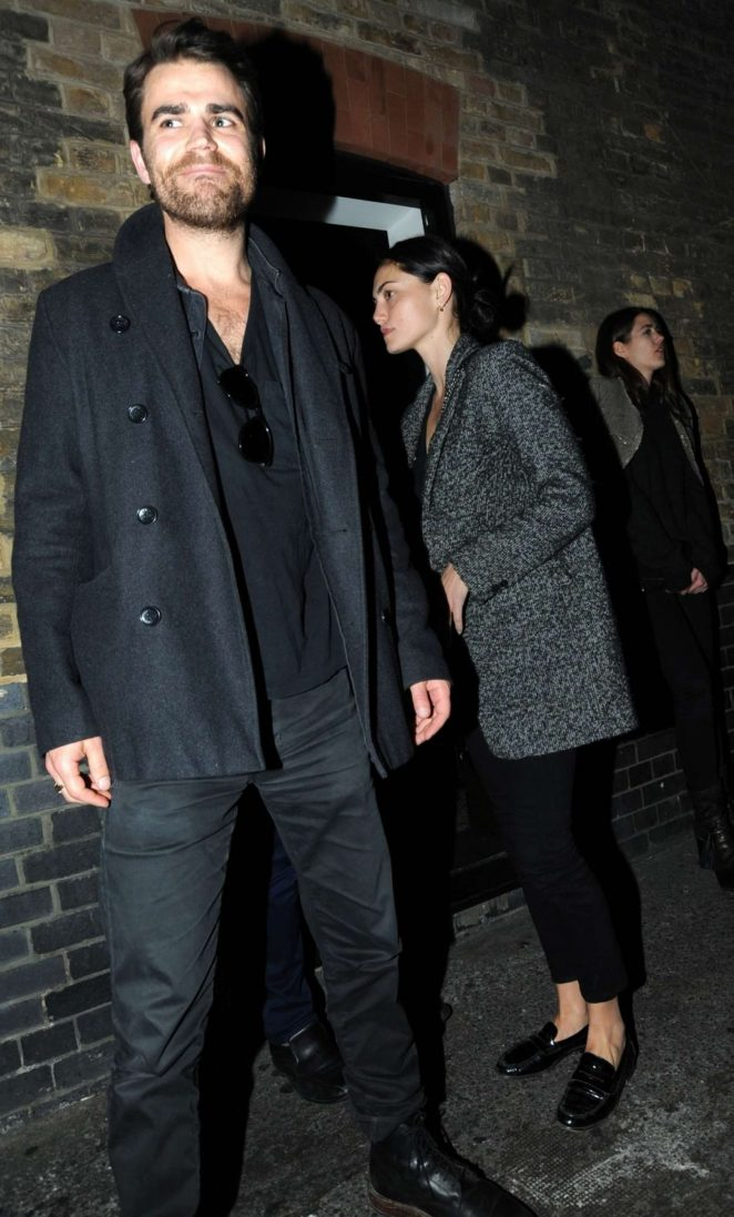 Phoebe Tonkin and Paul Wesley Leaving a Restaurant in London