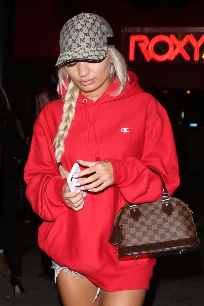 Pia Mia Perez in Red Leaves the 6lack show in West Hollywood