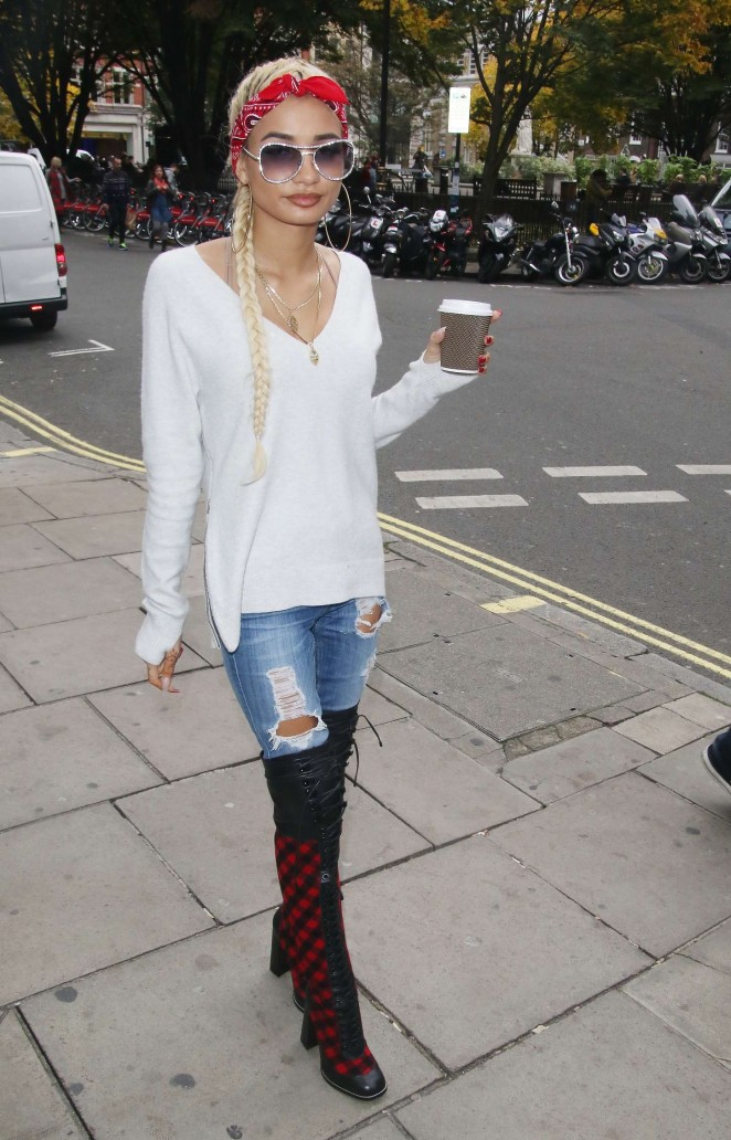 Pia Mia Perez in Jeans Out in London