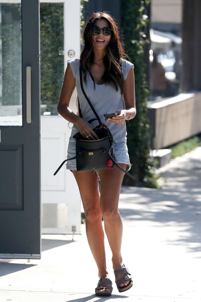Pia Miller in Denim Shorts - Leaving Alfred Coffee in West Hollywood