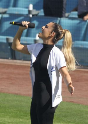 Pia Toscano - Sings National Anthem at Dodgers Game in LA