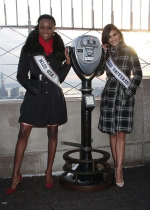 Pia Wurtzbach and Miss USA 2016 Deshauna Barber at Empire State Building in NY