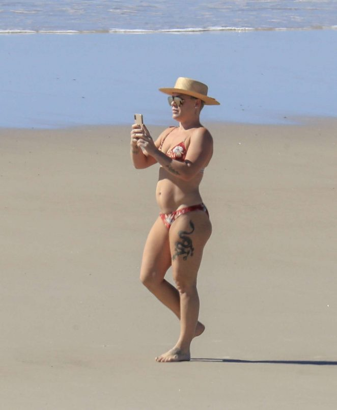 Pink in Bikini at the beach in Byron Bay