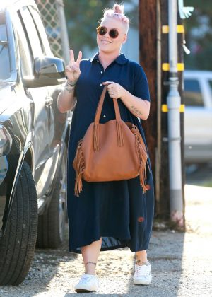 Pink in Long Dress out in Santa Monica