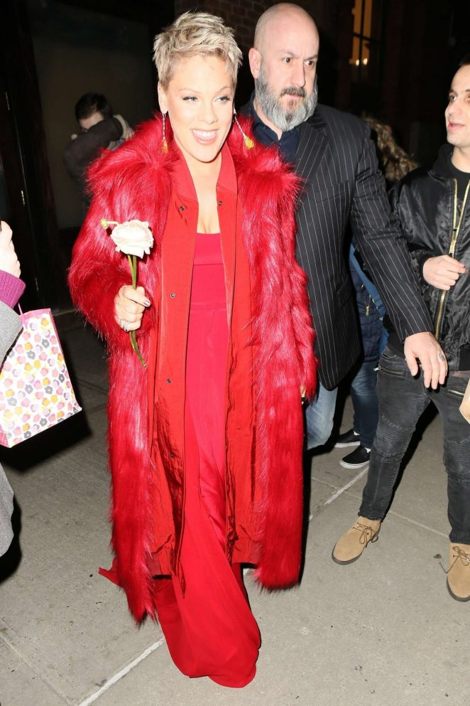 Pink in Red Dress - Leaving her hotel in New York