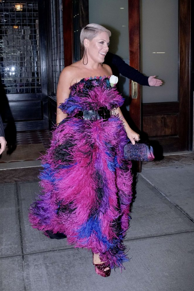 Pink - Leaves Her Hotel in New York City