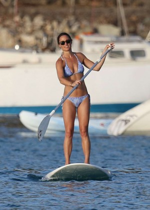 Pippa Middleton in Bikini Paddleboarding in St. Barts