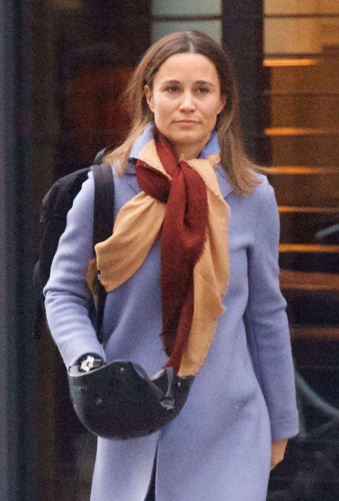 Pippa Middleton in Coat out in London