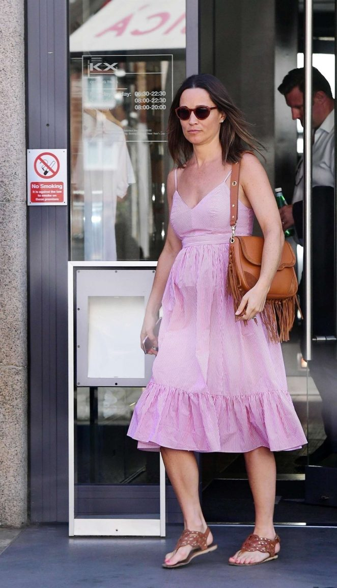 Pippa Middleton in Pink Dress - Out in Chelsea