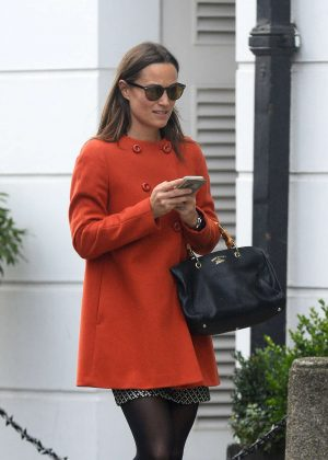 Pippa Middleton in Red Coat out in Chelsea