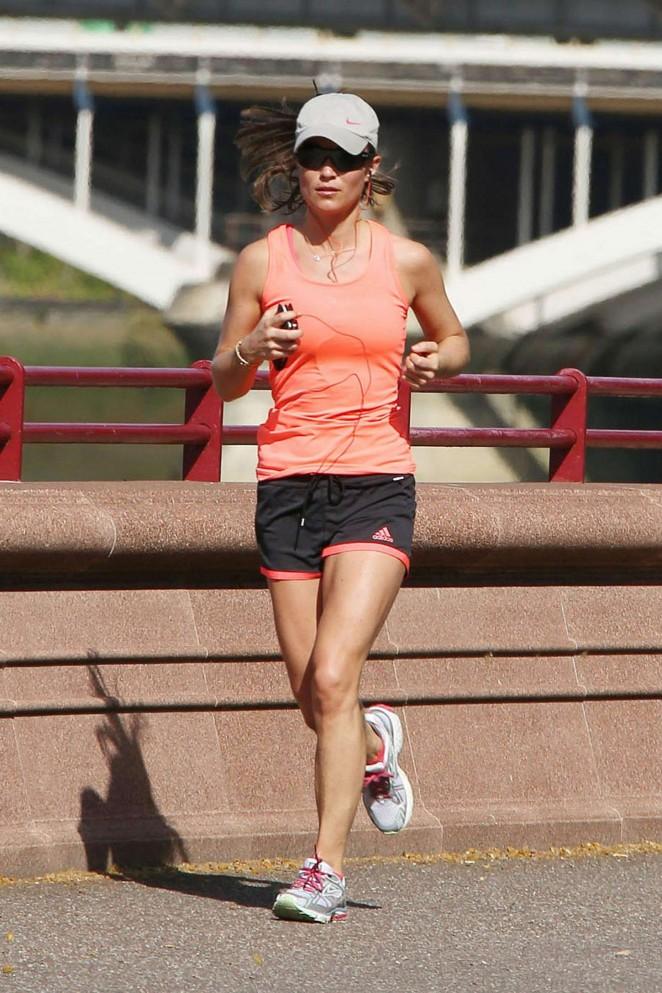 Pippa Middleton in Shorts Jogging In London